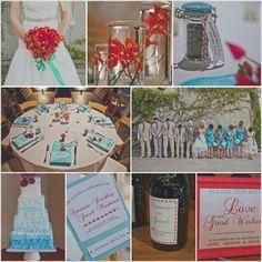 Red and tiffany blue wedding