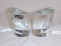 Pr Vtg Mid Century Blenko Clear Ice Glass Half Moon Bookends w/ Labels Set #1 #Blenko