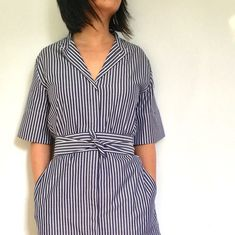 The weather's warming up, so I've been looking forward to stepping out in a dress. I've had my eye on Everlane's Cotton Collarless Belted Shirt Dress for a while and actually bought one back in December when my size was restocked, but I haven't had a chance to wear it until now.
