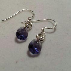 SWAROVSKI purple, sterling silver earrings 1.90cts. New Jewelry Earrings
