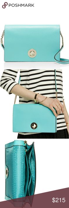 """NWT Kate Spade Grand Street RARE Tiffany Blue The absolute perfectly colored and sized companion bag for spring and summer. Measurements: H 6.6"""", W 9.9"""", D 1.2"""", shoulder/crossbody strap length is 22"""". Authentic leather. 14 - karat hardware. Dual interior slide pockets and zipper pocket. Feel free to make an offer! kate spade Bags"""