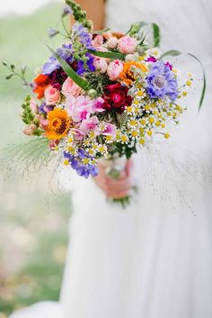 Wildflower Wedding Bouquet with feverfew, scabious, delph, grasses