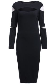 Black Long Sleeve Cut Out Slim Dress 27.33