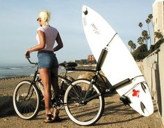 The Huntington rear Bike Surfboard Rack is a must have for hard core bike to the beachers. If you live anywhere within cycling distance to your favorite break, you have to have this one of a kind rack