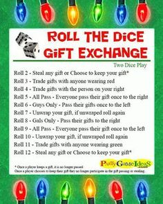 Fun and Easy Dice Gift Exchange for Holiday Parties www.giftideascorn… Fun and Easy Dice Gift Exchange for Holiday Parties www. Christmas Gift Exchange Games, Xmas Games, Holiday Party Games, Holiday Parties, Christmas Holidays, Christmas Games For Family, Christmas Games With Gifts, Christmas Decorations, Office Christmas Party Games