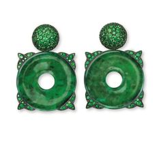 Hemmerle Earrings, silver, white gold, jade, tsavorite garnets