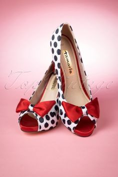 Tamaris - 50s Olivia Peeptoe Red Bow Pumps