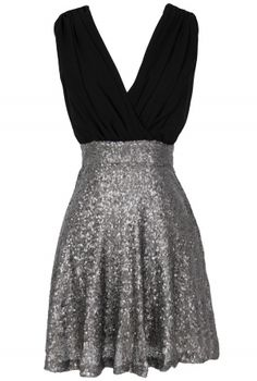 Flash of Light Chiffon and Sequin Dress in Black/Silver  www.lilyboutique.com