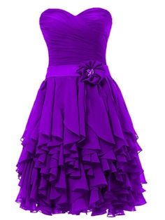 Concise Sweetheart Zipper-Up Cocktail/Homecoming Dress #purple #strapless #flower