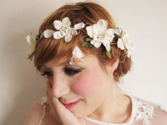 flower crown. birds and fresia crystal and big white delphinium crown