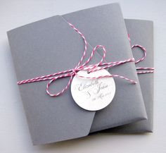 Smokey pocketfolds with striking bakers twine and personalised tag