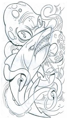 shark and octopus fish tattoo design art flash pictures images . Shark Drawing, Octopus Drawing, Octopus Tattoo Design, Octopus Tattoos, Tattoo Designs, Prison Drawings, Tattoo Drawings, Art Drawings, Cartoon Fish