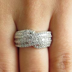 Round and Baguette Cut Diamond Fashion Cocktail Ring in 14K White Gold perfect for any party! #cocktailring #bling #accessories