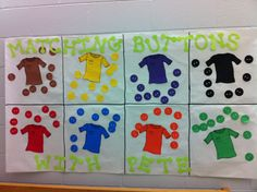 We sorted buttons onto matching shirts using the 8 basic colors based on the book Pete the Cat and His 4 Groovy Buttons!