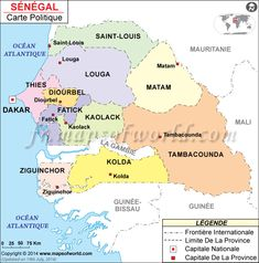 Carte du Sénégal (Map of #Senegal) #MapsInFrench #CarteduMonde
