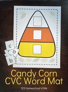 FREE Candy Corn Sight Words Activity - this is such a fun, clever, free printable fall themed CVC Words activity to helper preschool, kindergarten, and first grade kids practice #cvcwords #sightwords #candycorn #free #preschool #kindergarten #firstgrade #123homeschool4me