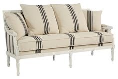 What's old is new again, and this Sheraton style Parlor Settee Sofa is built for today with sturdiness and comfort in its solid wood frame and thick cushions.