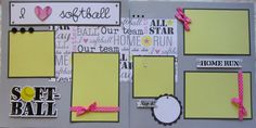 I LOVE SOFTBALL 12x12 Premade Scrapbook Pages GiRL by stampingirl2, $14.50