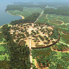 Kuhikugu, illustration by Luigi Marini.    Lost Garden Cities: Pre-Columbian Life in the Amazon: Scientific American