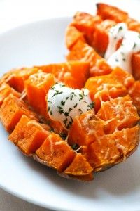 This is the easiest (15 minutes and done) and most delicious way we have found to enjoy a sweet potato!   Take a whole sweet potato and pierce it with a fork a few times.  Then, you just place it in the microwave on medium-high for 6-7 minutes (depending on how big your sweet potato …