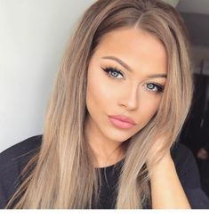 Blonde Wigs Lace Hair Dark Hair With Blonde Highlights Brown Hair Shades, Light Brown Hair, Brown Hair Colors, Blue Eyes Hair Color, Cheap Human Hair Wigs, Real Hair Wigs, Frontal Hairstyles, Wig Hairstyles, Stylish Hairstyles