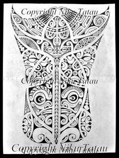 Croquis de Tatouage Polynésien aux Motifs Marquises pour tatouer sur la partie postérieure d'un homme