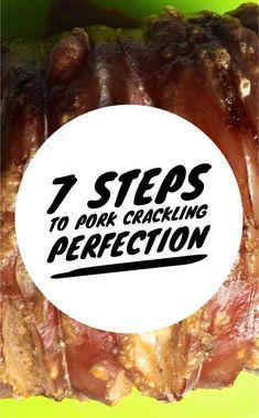 The secret to perfect roast pork crackling - Eat drink and be Kerry Roast Pork Crackling, Perfect Pork Crackling, Perfect Roast Pork, Pot Roast Brisket, Roast Steak, Beef Tenderloin Roast, Fried Pork, Fried Chicken, Roasted Chicken
