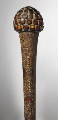 Property From The Collection Of Zafrira And Itzhak Shoher, Tel Aviv | Viti War Club, Fiji Islands | Inlaid with Sperm Whale (Physeter macrocephalus) tooth.  Length: 39 1/2 in (100.3 cm)