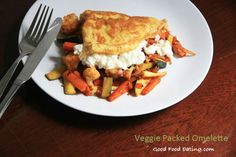 Day 2 of the One Month Diet Plan included this Veggie packed omelette. You'll find the recipe too.