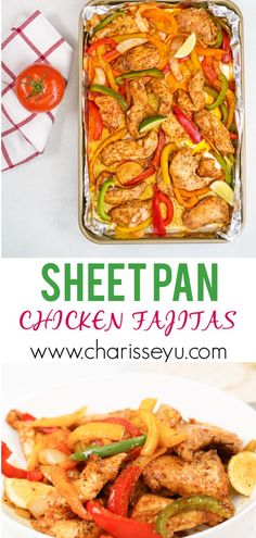 Dinner on the table in about 30 minutes, with just a little prep time! This sheet pan chicken fajitas recipe is a show stopper. So moist and flavorful, it will be a hit with the whole family! Chicken Fajita Recipe, Chicken Fajitas, Easy Chicken Recipes, Easy Healthy Recipes, Easy Dinners For Kids, Quick Easy Dinner, Quick Easy Meals, Quick Weeknight Meals, Have Time