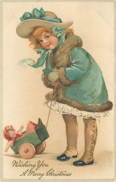 WISHING YOU A MERRY CHRISTMAS  girl in blue, fur-trimmed, coat, doll in cart lower left