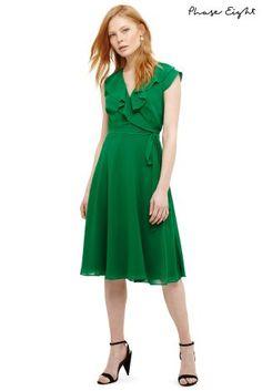 Green Allegra Wrap Dress - Green - Phase Eight Dresses Velvet Midi Dress, Black Midi Dress, Green Dress, Striped Dress, Lace Dress, Wrap Dress, Lovely Dresses, Day Dresses, Short Dresses