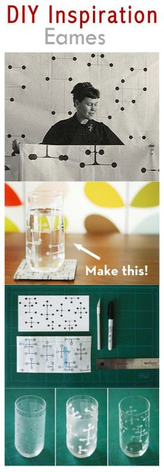 DIY Eames inspired glass -- tutorial on http://www.curbly.com/users/capreek/posts/10206-how-to-make-your-own-mod-eames-inspired-drinking-glasses