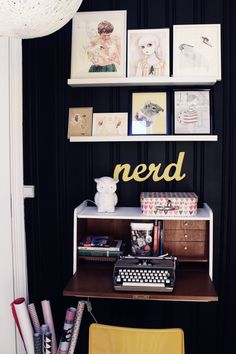 love the nerd sign! Benedicte and Daniel's Norwegian home on Design*Sponge
