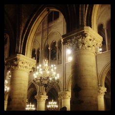 Inside Nôtre Dame, darkness and light live  together.
