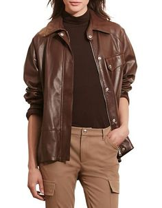 Lauren Ralph Lauren Zip-Front Leather Jacket | Products | Pinterest | Leather  jackets, Zip and Products