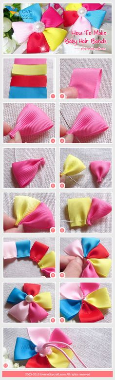 How to make baby ribbon flower hair ties. No need to heat seal the grosgrain ribbon or satin ribbon since the ribbon ends are sewn together. It'll be great to attach on ribbon lined hair clip too.