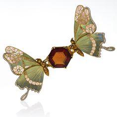 French Art Nouveau Topaz, Diamond and Enamel Butterfly Brooch- Macklowe Gallery