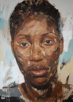 Lionel Lionel Smit (South African, b. 1982), acrylic on canvas {figurative #expressionist art female head grunge black woman face portrait painting} lionelsmit.co.za
