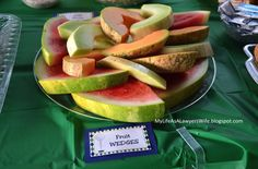 My Life as a Lawyer's Wife: E.J. is a Hole in ONE!: Golf-Themed First Birthday Party food - fruit wedges