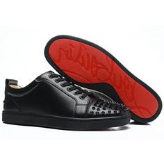 2ceb288d011e Christian Louboutin Louis Junior Black Spikes Mens Flat Leather ... Red  Bottom Shoes
