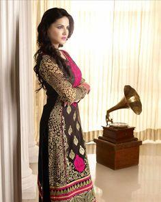 USD 73.9 Sunny Leone Black Faux Georgette Party Wear Salwar Kameez    33797
