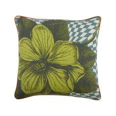 "Optical Botany 18"" Linen/Cotton Pillow in Aqua design by Thomas Paul"