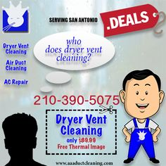 Call today for your dryer vent cleaning maintenance Clean Dryer Vent, Clean Air Ducts, Vent Cleaning, Indoor Air Quality, San Antonio, Learning, Email Form, Daily Deals, Facebook