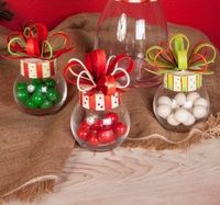 Christmas Bow Jar Small Set-Asst. 3 - Round Top Christmas Collection