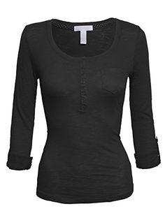 084e5ce9955 Women s Classic Henley Scoop Neck Long Sleeve Cotton Knit Casual T Shirt  Top Casual T Shirts