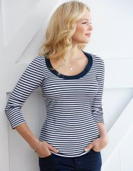 Stitch Fix Stylist: I like the black and white stripes, the sleeves cover the upper arm, and the neckline seems like it would work.