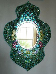 Heavily Beaded Peacock Wall Mirror