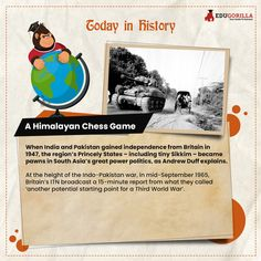 Today in History The #Himalayan Chess Game When #India gained #independence from #Britain in #1947. #todayhistory #didyouknow #didyouknowthat #edugorilla #education #learning #students #teachers #success #inspiration #motivation #knowledge #WorldWar #WorldWar1 Online Test Series, Online Tests, Today History, India Online, India And Pakistan, The Duff, Himalayan, Chess, In The Heights
