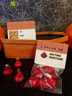 Minecraft Halloween Party Labels (foldable) ~ Rotting Redstone using red foil wrapped chocolates   For school, trick or treaters, a Halloween basket or as creative gifts to a Minecraft fan  #minecraft #halloween  #minecrafthalloween